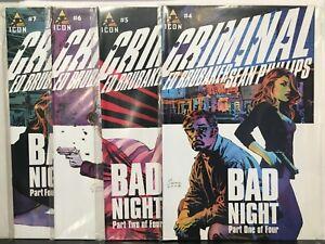 Criminal-Vol-2-4-7-Set-034-Bad-Night-034-Parts-1-4-VF-NM-1st-Print-Icon-Comics