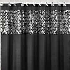 Popular Bath Mosaic Stone Black 70 x 72 Fabric Bathroom Shower Curtain w/Valence