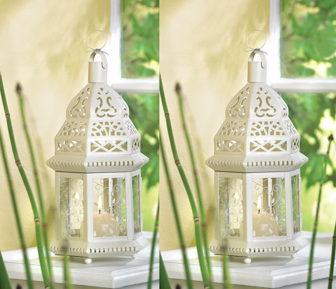 10 WHITE Shabby WEDDING Mgoldccan Table Decor CENTERPIECES CANDLE Holder Lanterns