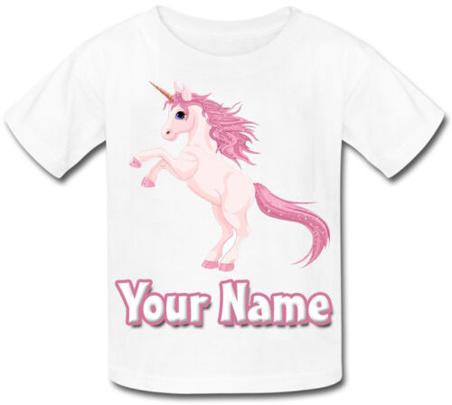 PINK UNICORN SUBLIMATION PERSONALISED KIDS T-SHIRT *GREAT CHILD/'S NAMED GIFT *