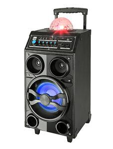 Dual-DSBX-Soundbox-Bluetooth-USB-Integriert-Akku-FM-LED-Disco-Karaoke-Microfon