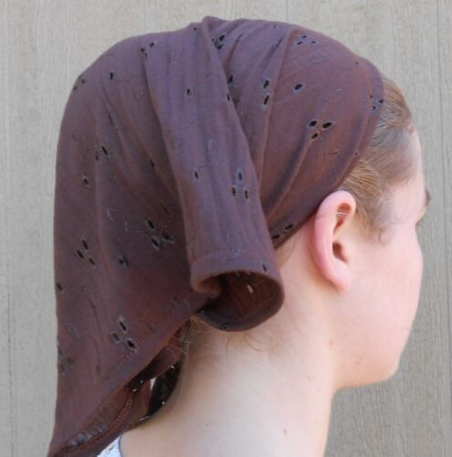 Ladies scarf headcovering cotton brown knit eyelet modest handmade