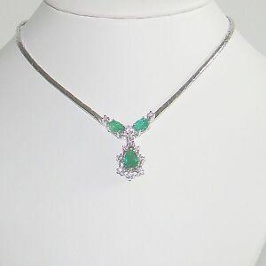 Halskette-Gold-585er-Smaragd-Brillanten-Collier-Goldschmuck-14-kt-Damen