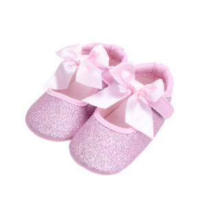 3385eff0c541 NEW Baby Girls Pink Glitter Pink Bow Ballet Crib Shoes 0-6 6-12 12 ...