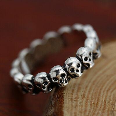 Gothic Lot Skull Vintage Biker Men's Black Punk Stainless Steel Ring US Size 7-9