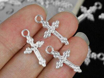 25 or 50 Tibetan Silver Cross Pendant Charms 10x20mm 10 2