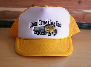 ecfb2c611 Details about Vintage Lion Trucking Embroidered Yellow Trucker Cap Truck  Driver Hat Snapback