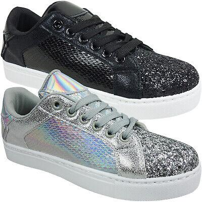 New Womens Ladies Flat Low Espadrilles Girl Glitter Skater Pumps Deck Boat Shoes