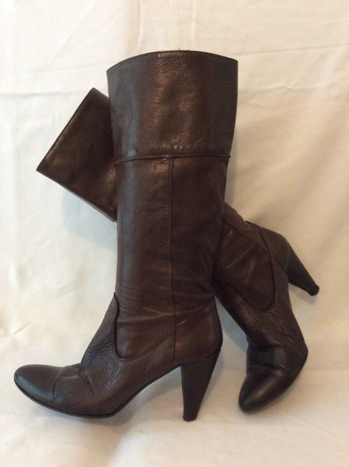 Just Me Brown Knee High Leather Boots Size 38