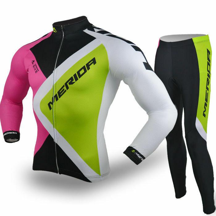 Merida Cycling Team  Kit Men's Long Sleeve Cycle Jersey Bike Pants Padded Set  luxury brand