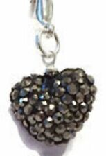SPARKLY SHAMBALLA  GREY CRYSTAL 15mm HEART CLIP ON CHARM FOR BRACELET - S/P