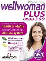 4 X Vitabiotics Wellwoman Plus Omega-3 6 9 56 Tablets/capsules