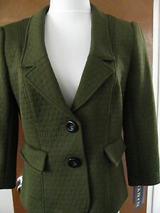 New-w-tags-Kay-Unger-Women-039-s-Green-Lined-Blazer-Size-10