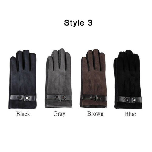 Mens Womens Black Suede Extra Warm Lining Winter Thermal Gloves Touch Screen UK