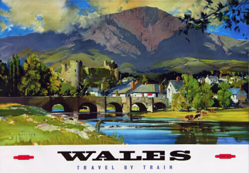 TT98 Vintage Wales By Train British Railways Travel Poster Re-Print A4