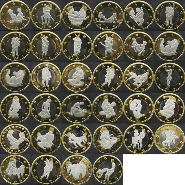 2015 34pcs Sex 6 Euro Coins Different Kama Sutra Position Hard Plastic Capsules