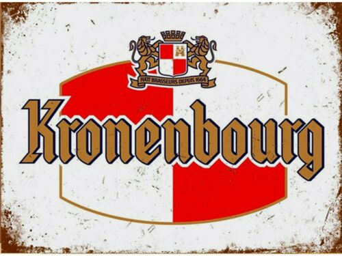 Kronenbourg Beer LAGER French  pub bar rusted look metal wall sign plaque decor