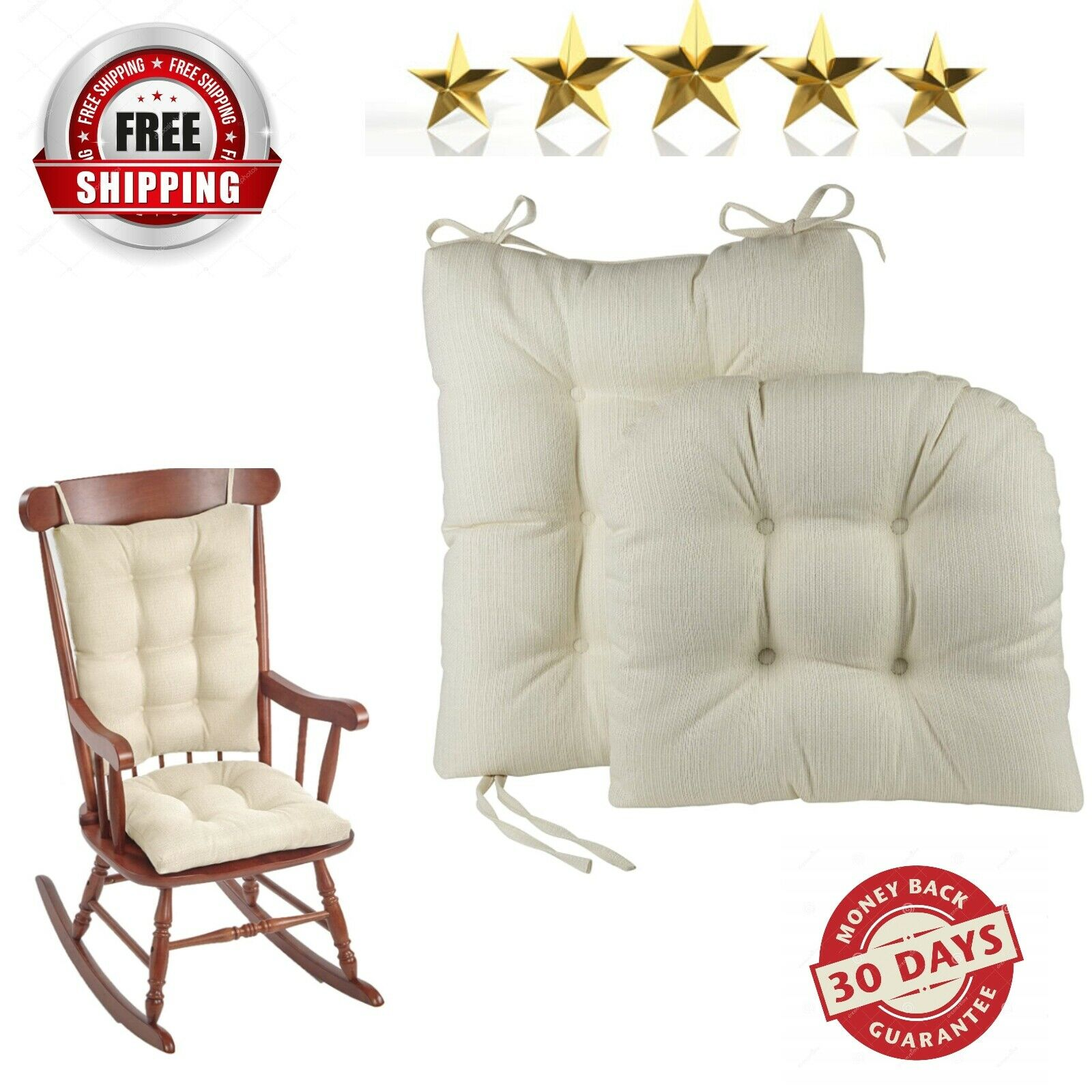 Picture of: The Gripper Twill Jumbo Xl Non Slip Rocking Chair Cushion Set Celadon Green For Sale Online Ebay