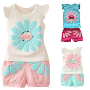 Toddler-Kids-Baby-Boys-Girl-Flower-Print-Outfits-T-shirt-Tops-Shorts-Clothes-Set