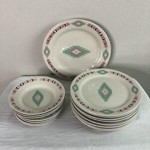 Meiwa Art Aztec Southwestern Dinnerware Set Plates Bowls Saucers 16pc China