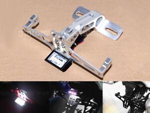 CNC License Plate Bracket Fender Eliminator LED Rear Light For Motorcycle Black