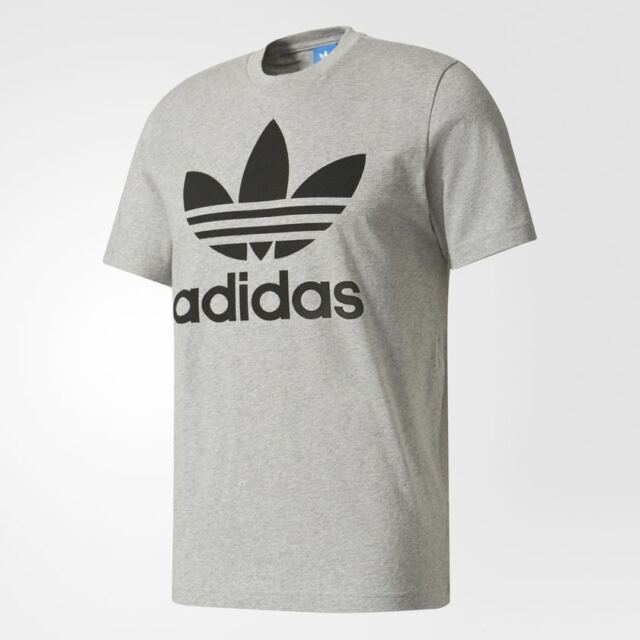 promo code b8f95 c34c7 Adidas S S ORIGINAL TREFOIL T-SHIRT GREY BLACK BK7466  NEW WITHOUT