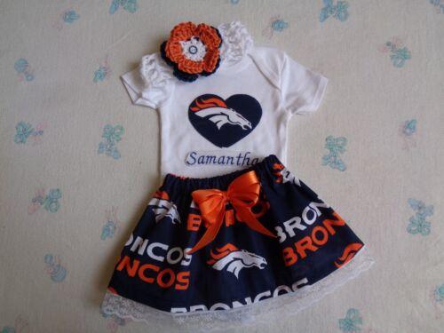 Denver Broncos Baby Girl Skirt Personalized Bodysuit and Headband.