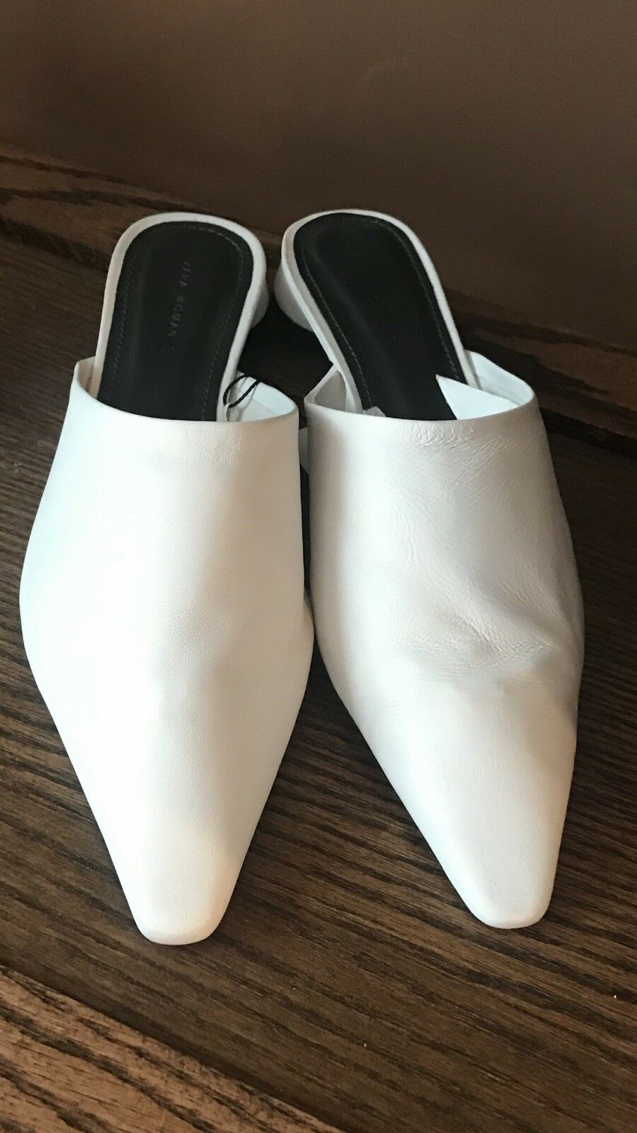 Zara nuevo Mujer Suave Cuero blancoo blancoo blancoo Mulas resbalón en tamaño de pisos su 9  toma