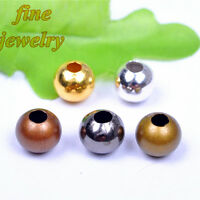2/3/4/5/6/8/10mm Round Beads plated Silver Gold Metal Spacer End Bead Jewelry