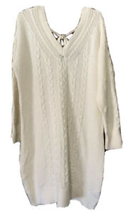 Abercrombie & Fitch  IVORY  V-NECK CABLE KNIT BOW BACK SWEATER DRESS NWT XL