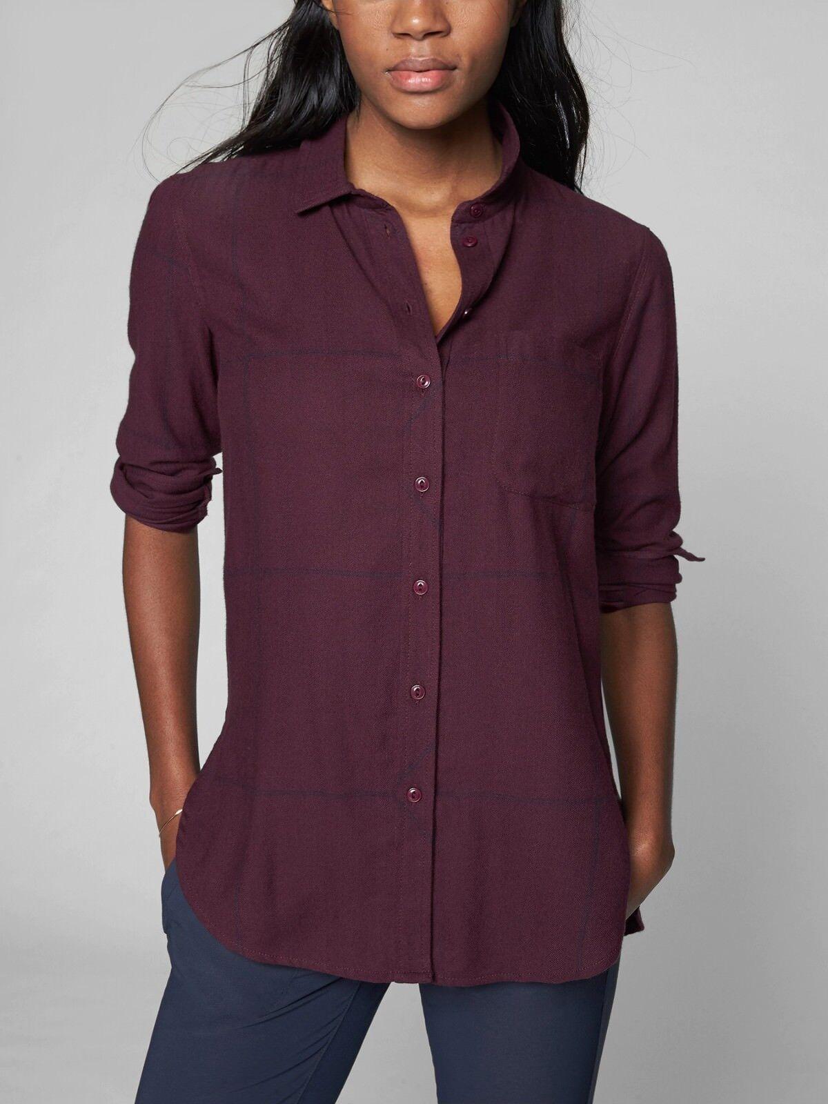 Athleta Heat Gen Tech Flannel Shirt, Cassis Größe S      E1204