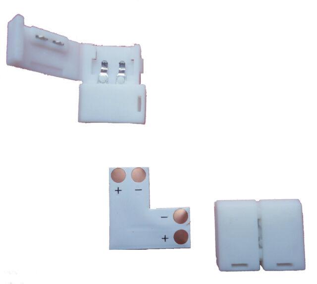 LED 3528 Strip Eckverbinder L - Form einfarbig Steck Verbinder Adapter Kit 8mm