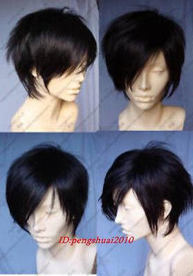 New Fashion Man Short Straight Black Cosplay Heat Resistant Full Hair Wig Wigs