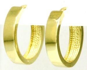 Damen-amp-Herren-Klappcreolen-Creolen-14-Kt-Ohrringe-585-Gold-4-mm-breit-Massiv
