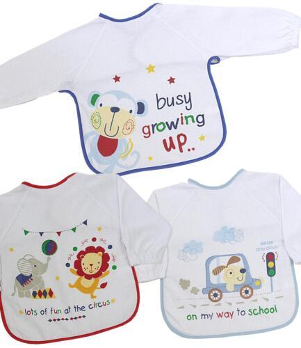 BabyPrem 3 X Baby Boys Long Sleeved Feeding Weaning Messy Dribble Bib