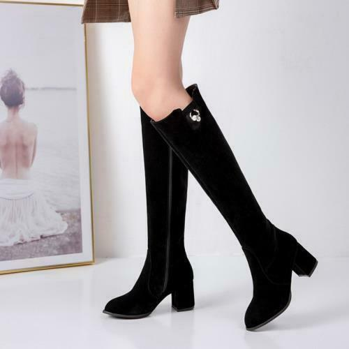 Fashion Women's Round Toe Block Heels Knee High Boots Casual Shoes 45/46/47/48 D