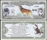 Lot Of 100 Bills - Siberian Husky Dog Bill Puppy & Adult Pics, Facts On Back