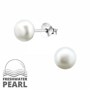 7beb39552 Image is loading 925-Sterling-Silver-White-Freshwater-Pearl-Stud-Earrings-