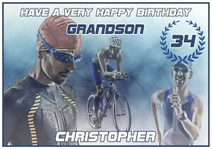 Personalised Triathlon Themed Birthday Card Awesome !