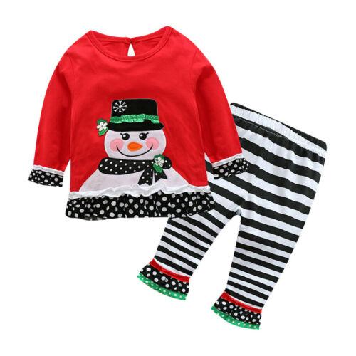 Newborn Infant Baby Boy Girl Christmas Snowman T Shirt Striped Pants Outfits Set
