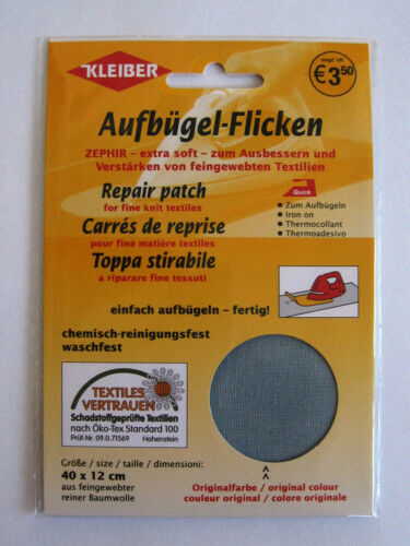 Kleiber Zephyr coderas parchear 40 x12 cm algodón gris claro