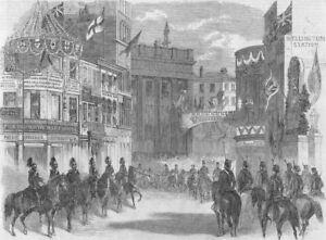 Leeds. Departure Of Queen From For Scotland, Antique Print, 1858