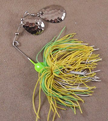 Living Rubber Bass Fishing Lure Spinnerbait DR Double Hook Double Spin DHS-07