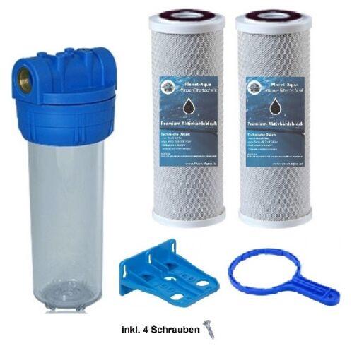 """2 AKTIVKOHLE Vor Filter Hauswasserwerk Brunnen Filtergehäuse Set 10/"""" x 1/"""" IG"""