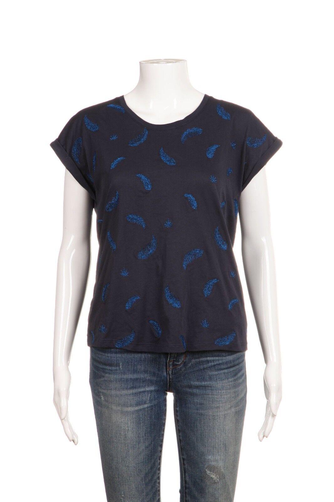 BERENICE bluee Tee Size Medium Metallic Embroidered Top Short Sleeve
