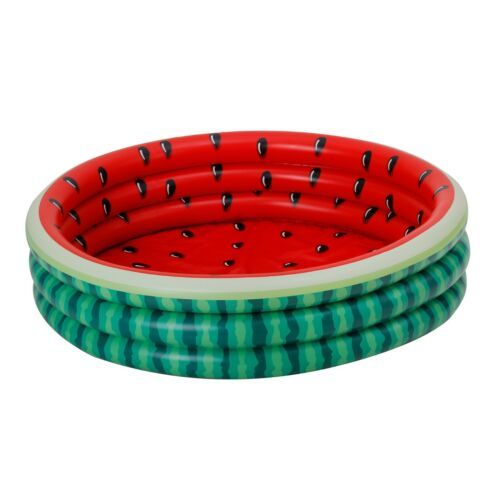 """Waves® Inflatable Watermelon 3-Ring Pool 45/"""" x 10/"""" Kids Fun Play Games"""