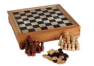 Retro Games Desktop Board Set in legno della dama 21x21cm divertimento per la famiglia