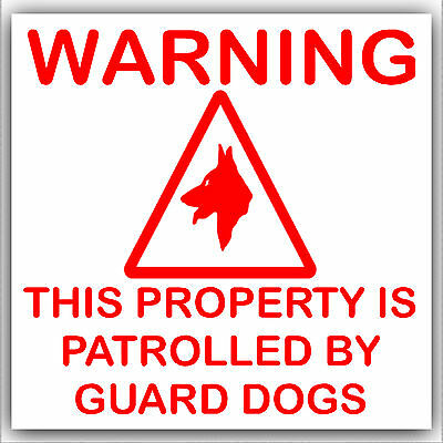 6 X WARNING GUARD DOGS STICKERS//SIGNS.STICKER