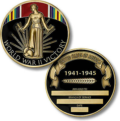 World War II Victory Medal Engravable Challenge Coin