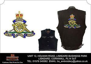 Royal Manche Noir Sans Veste Leather Denim Artillerie Brodé Gilet And qzrEqwOA